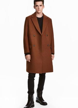 Фирменное роскошное двубортное зимнее шерстяное пальто, шерсть...