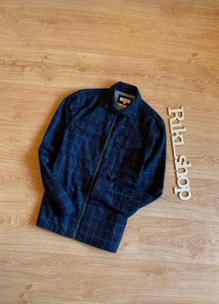 Темно-синий овершот в клеточку рубашка шерстяная накидка на за...