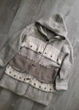 Vip винтаж австрия пальто куртка кардиган с капюшоном 100% шер...