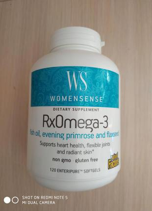 Омега 3 для женщин, WomenSense, RxOmega-3, 120 шт, Канада