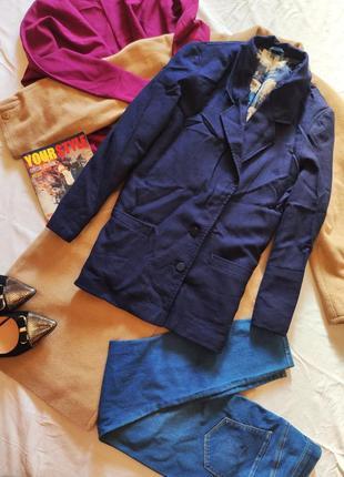 Пиджак жакет женский синий с карманами удлиненный шерстяной