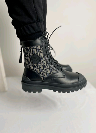 Хит ботинки деми кожа текстиль женские Dior Boots Black