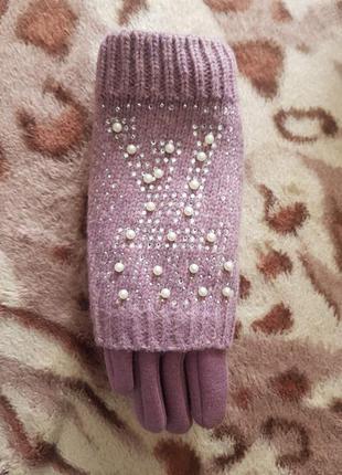 Перчатки женские трикотажные на флисе