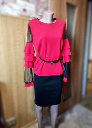 Костюм красный юбка в подарок