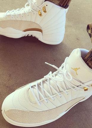 Баскетбольные мужские кроссовки Nike Air Jordan 12 White Gold