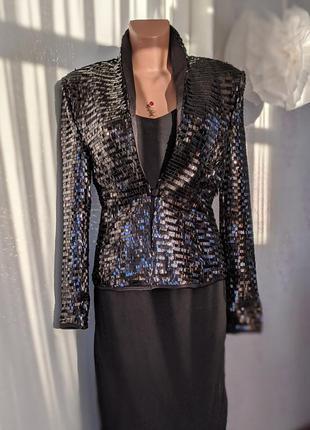Жакет пиджак  чёрный в пайетках вечерний выходной черный