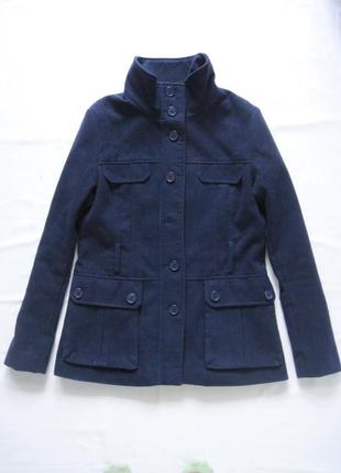Темно синее пальто h&m полупальто с воротником стойкой на пуго...