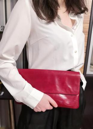 Шикарный большой кожаный клатч сумка