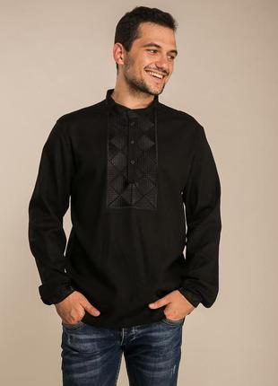 Черная рубашка, вышиванка, черная вышиванка, мужская рубашка