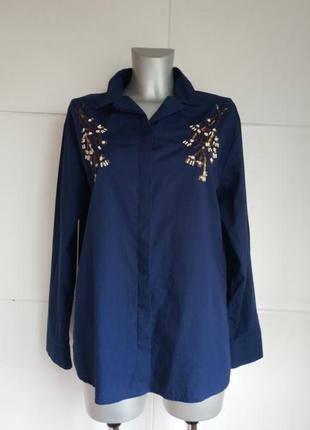 Стильная рубашка marks&spencer с вышивкой из паеток и бесера