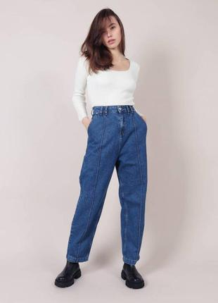 Синие джинсы бананы с высокой талией