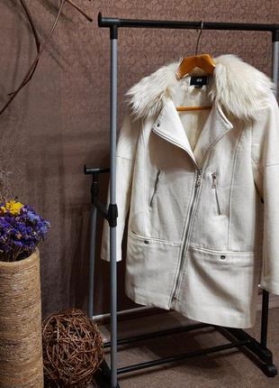 Пальто косуха белое