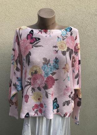 Трикотаж кофта,блузка, реглан,летучая мышь,цветочный принт,хло...