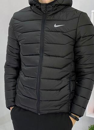 Куртка пуховик стеганная короткая nike черный | куртка пуховік...