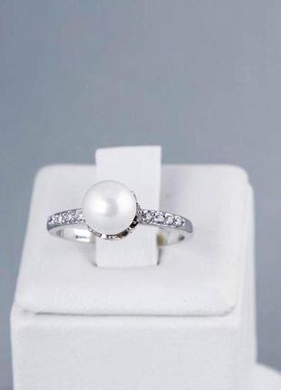 Милое кольцо с жемчужиной 17 размер