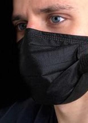 Черные маски для лица медицинские 90 штук