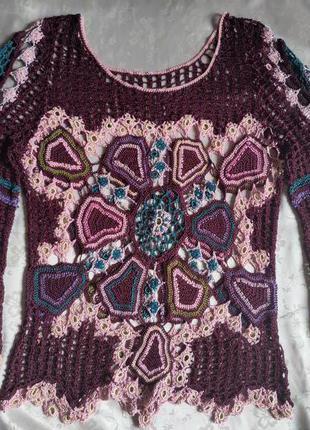 2 Вязаная кофточка Цветная ажурная блузка крючком XS S, 34, 36 42