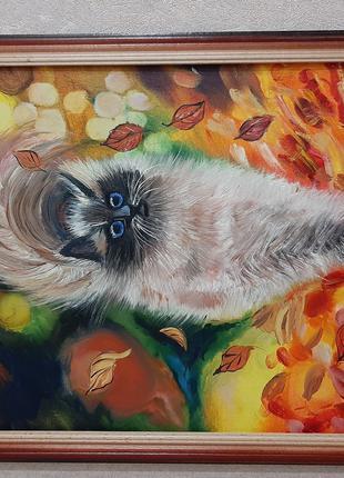 """Продам картину""""Котик в осенней листве"""""""