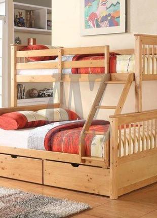 Двухъярусная кровать + беспружинные матрасы + 2 подушки в пода...