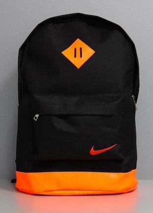 Рюкзак городской мужской, женский черный-оранжевый