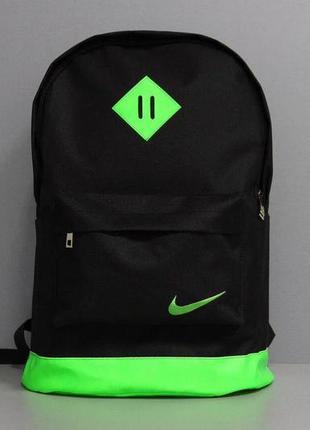 Рюкзак городской мужской, женский черный-зеленый