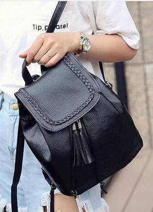 Рюкзак женский эко кожа лаковая черный