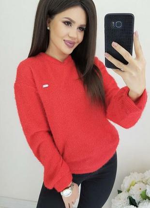 Свитшот красный женский, светр женский