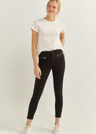 Черные брюки springfield,  джинсы на молнии, облегающие джинсы...