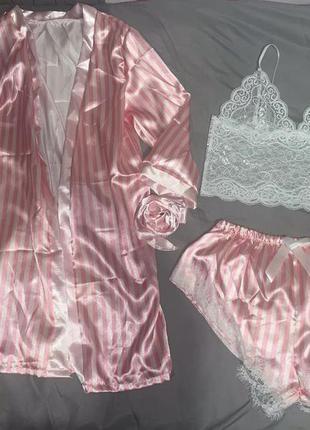 Пижама, домашний комплект, домашняя одежда, халат домашний
