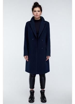 Пальто в полоску синее прямого кроя шерстяное
