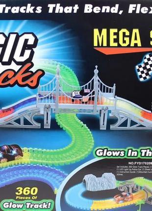 Magic Tracks- 360 деталей с мостом и 2 гоночные машинки, 5 м...