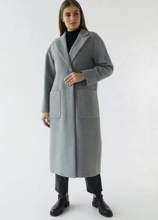 Пальто прямого кроя с карманами шерстяное натуральное