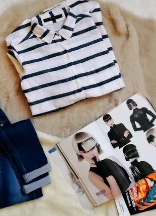 Zara зара xs базовая белая рубашка в темно-синюю полоску изо льна