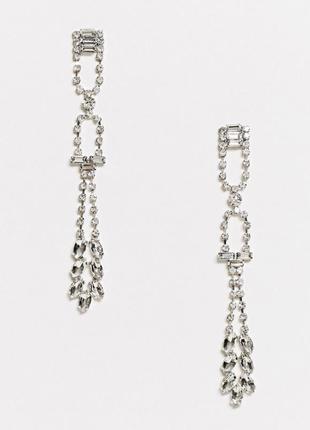 Серебристые серьги-подвески с камнями.  уценка