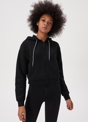 Новая короткая широкая черная кофта худи польша капюшон карман...