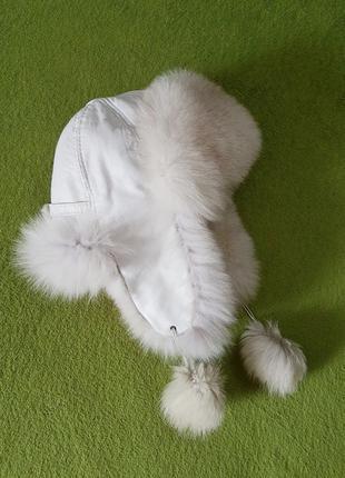 Женская кожаная шапка ушанка, натуральный мех песец ОГ 54-56 см