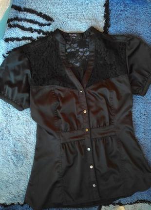 Приталеная блуза атлас шелк гипюр s-m размер