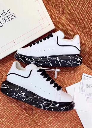 🤩alexander mcqueen white black🤩женские кроссовки/кеды белые ма...