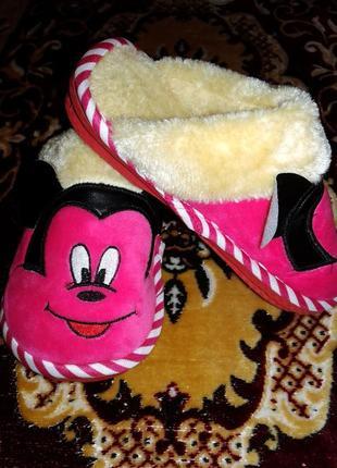 Теплые тапочки домашние для девочки минни маус с мехом