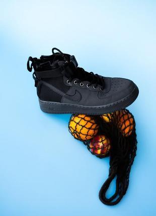 Nike air force high black. мужские высокие чёрные кроссовки найк.