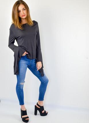 Zara трикотажный джемпер с асимметричными рукавами клеш, кофта...