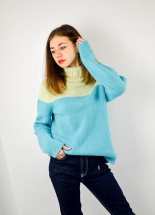Gap шерстяной джемпер колор блок с высоким воротом, свитер из ...