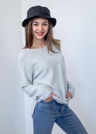 Zara серый джемпер с декоративным швом,свободная кофта, свитшот