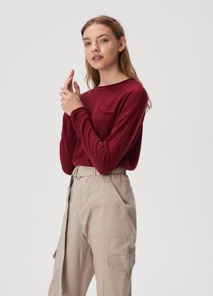 Новая широкая бордовая кофта вишневый свитер марсала джемпер п...