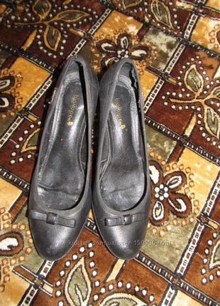 Туфли женские натуральная кожа устойчивый каблук