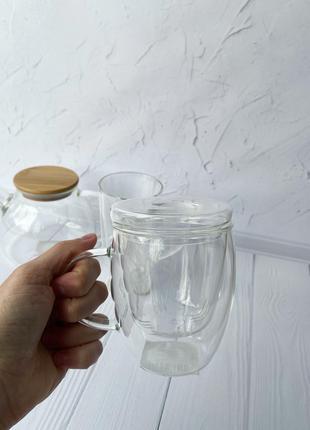 Стеклянная чашка-заварник 300 мл