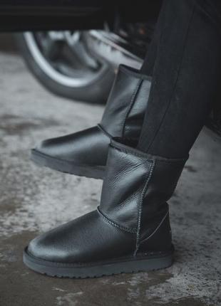Ugg classic leather, зимние кожаные чёрные женские зимние угги