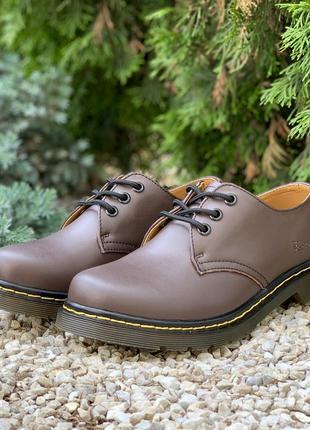 👣dr. martens 1461 brown👣женские/мужские коричневые кожаные туф...