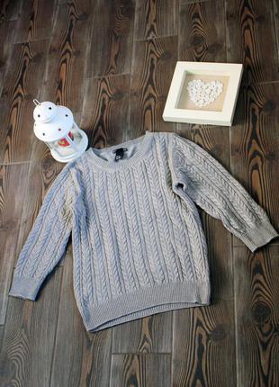 Вязаний свитер пуловер с косами