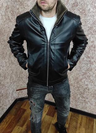 Мужская зимняя кожаная куртка на меху